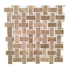 """Basket Weave With Crema Nouva Dot Polished Tile, Emperador 12""""x12"""""""