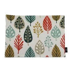 McAlister Textiles Magda Place Mats Leaf Design, Set of 4, Terracotta Orange