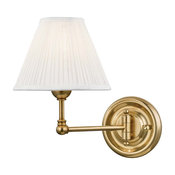 Classic No.1 Swing-Arm Wall Sconce, Off-White Silk Shade, Aged Brass