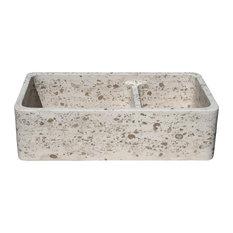 "Limestone Kitchen Farm Sink, Reversible, Double Bowls, Perlina Limestone, 36"""