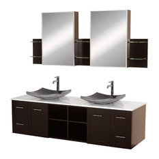 "Wyndham Collection 72"" Avara Double Sink Vanity With White Man-Made Stone Top"