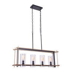 Parry 8 in. 4-Light Indoor Gold and Black Finish Chandelier with Light Kit