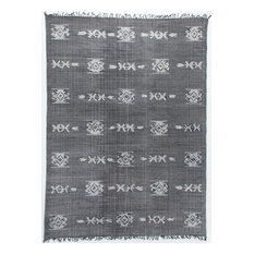Cotton Tribal Rug, Faded Black, Faded Black, Large