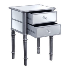 Convenience Concepts Gold Coast Mayfair Mirrored End Table in Silver Wood Finish