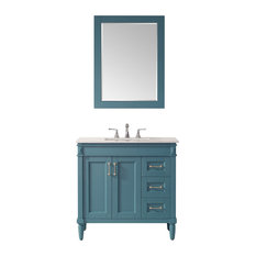Catania Vanity Royal Green Carrara White Marble Countertop 36-inch With Mirror