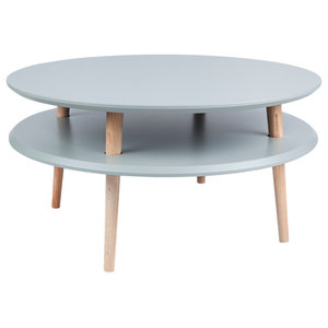UFO Low Round Scandinavian Coffee Table, Dark Grey