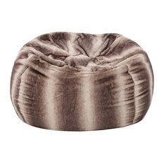 GDF Studio Meridian Plush Oak Brown Stripes Fur Fabric Bean Bag