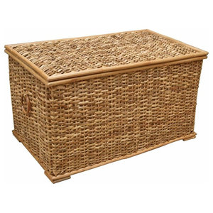 Traditional Storage Basket, Wicker With Lid and Wooden Hoop Handles, Large