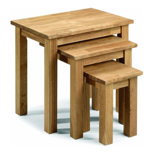Set of 3 Nest of Tables in Natural Finished Solid Wood, Simple Traditional Style