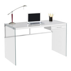 Monarch Specialties Computer Desk 48l Glossy White Tempered Gl Desks And
