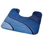 Blue Plush Washable Pedestal Bathroom Rug, Wave - Design: