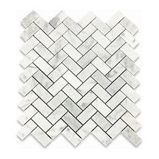 "12""x12"" Carrara White Herringbone Mosaic Tile Honed, Chip Size: 1""x2"""