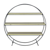 Black and Gold Round Shelving Display