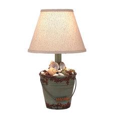Aged Atlantic Grey Mini Bucket of Shells Accent Lamp