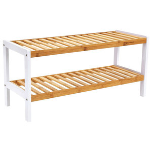Contemporary Shoe Rack, Bamboo Wood With 2-Shelf, Simple Slatted Design