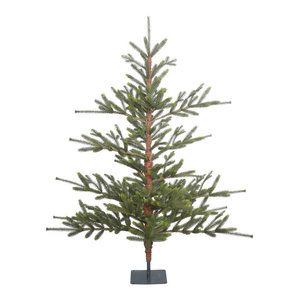 """Bed Rock Pine Full Green Christmas Tree in Metal Stand, 5'x54"""""""
