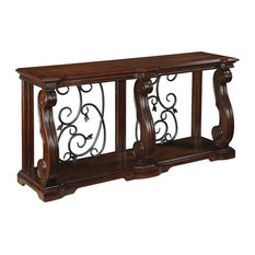 Traditional Sofa Table in Wood With 2-Drawer and Fixed Shelf for Extra Storage