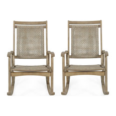 Lucas Outdoor Rustic Wicker Rocking Chairs, Set of 2