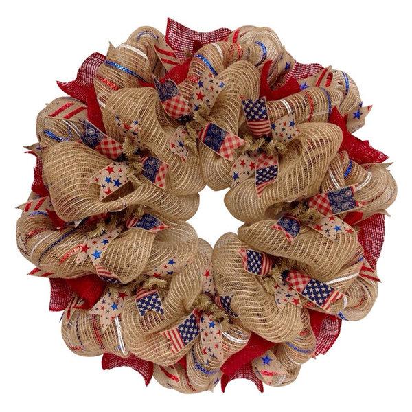 Americana Patriotic Ribbon Wreath Handmade Deco Mesh And Burlap, 28