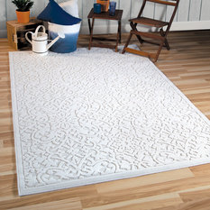 "Orian Rugs - Indoor/Outdoor Sculpted Biscay High-Low Area Rug, Ivory, 5'2""x7'6"" - Outdoor Rugs"