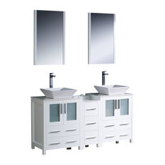 "Torino 60"" White Double Sink Vanity, Side Cabinet and Ves Livenza Chrome Faucet"