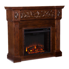 Eastport Carved Electric Fireplace, Espresso
