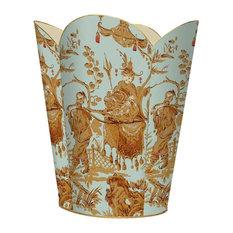 Aqua Asian Toile Wastepaper Basket, No Tissue Box Cover