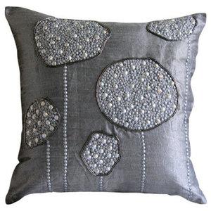 Silver Ball Bearings, Gray Art Silk 65x65 Euro Pillowcases