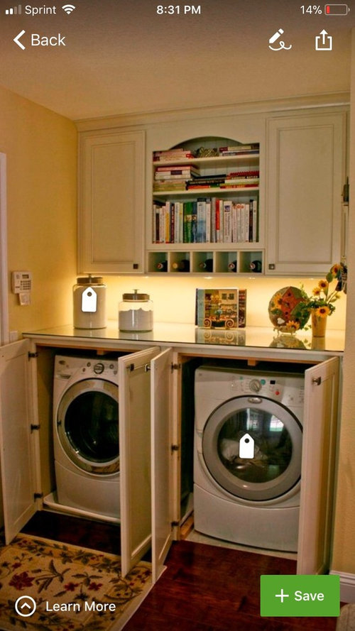 washer and dryer in kitchen cabinets
