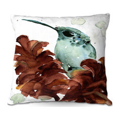 """DiaNoche Designs - November Hummingbirds Outdoor Pillow, Small, 16""""x16"""" - Outdoor Cushions and Pillows"""