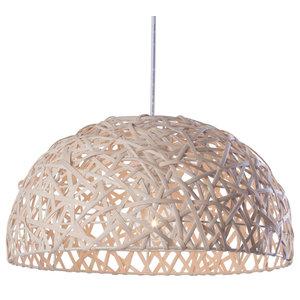 1 Light Honey Wicker Ceiling Pendant, Natural