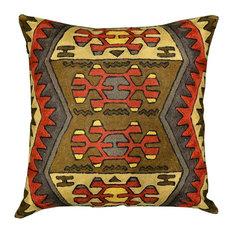 Kashmir Designs   Navajo Tribal Aztec Pillow Red Brown Rustic Hand  Embroidered Wool 18u2033X18