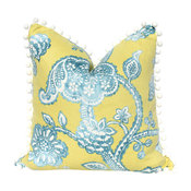 Jacobean Flower Pillow Yellow Embellished With White Pom Pom Trim