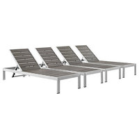 Shore Outdoor Patio Aluminum Chaises, Silver/Gray, Set of 4
