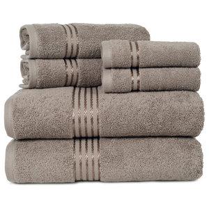 100% Cotton Hotel 6 Piece Towel Set by Lavish Home, Taupe