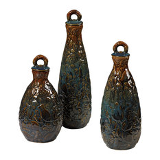 Sterling Industries School Of Fish Ceramic Jars in Brown and Blue, Set of 3