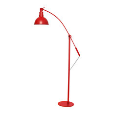 "10"" Blackspot LED Industrial Floor Lamp, Cherry Red"