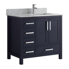 "Jacques 36"" Single Vanity Left With White Marble Top, No Mirror, Navy"