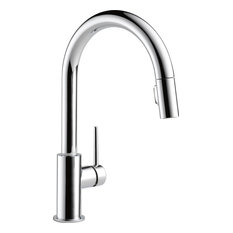 Delta Faucet   Delta Trinsic Single Handle Pull Down Kitchen Faucet,  Polished Chrome