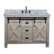 49-inch Rustic Solid Fir Barn Door Style Single Sink Vanity Arctic Pearl Marble Top