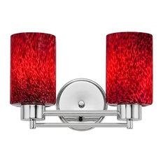 Destination Lighting   Modern Bathroom Light With Flame Red Glass, Chrome    Bathroom Vanity Lighting