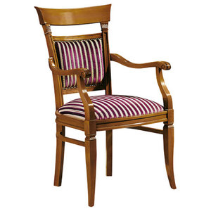 Striped Classic Dining Chair, With Armrests