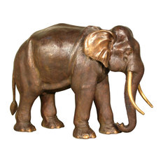 Walking Elephant With Trunk Down Bronze Sculpture