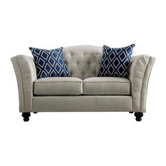 Furniture Of America Floyd Transitional Fabric Love Seat In Ivory