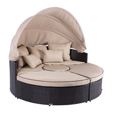 Belleze - Outdoor Patio Sofa Furniture Round Retractable Canopy Daybed Brown Wicker Rattan - Outdoor Lounge Sets