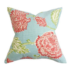 """Behati Aqua and Red Floral Pillow, 18""""x18"""""""