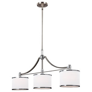 3-Light Island Chandelier, Satin Nickel-Chrome