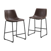Counter Stool in Brown Finish - Set of 2