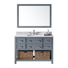 "48"" Single Sink Bathroom Vanity With Carrara Marble Top, Baskets, and Mirror"