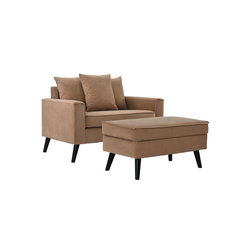 Mid-Century Modern Large Accent Chair With Storage Footrest, Brown
